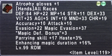 Atrophy gloves +1