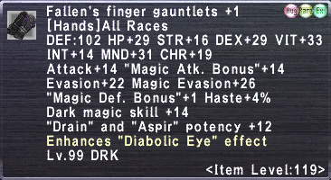 Fallen's Finger Gauntlets Plus 1