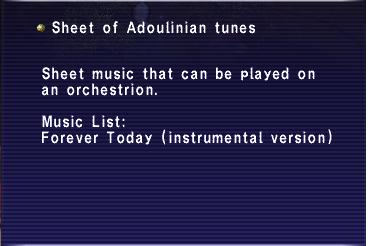 Sheet of adoulinian tunes