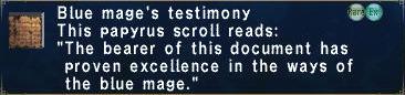 Blue Mage Testimony