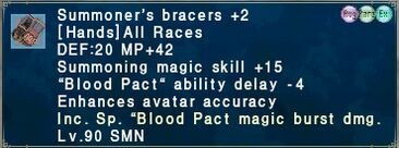 Summoner's bracers +2 augment