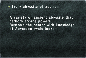 Ivory abyssite of acumen