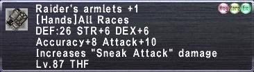 Raider's Armlets Plus 1