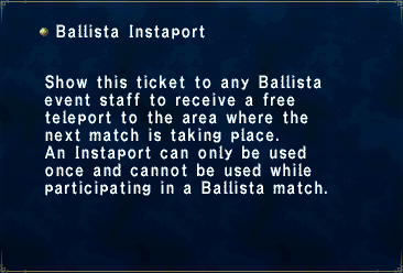 Key item ballista instaport
