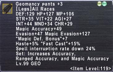 Geomancy Pants +3