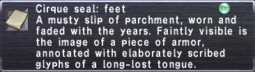Cirque Seal Feet