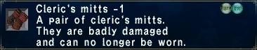 Cleric mitts minus 1