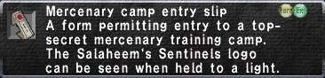 Mercenary Camp Entry Slip