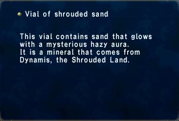 Key item vial shrouded sand