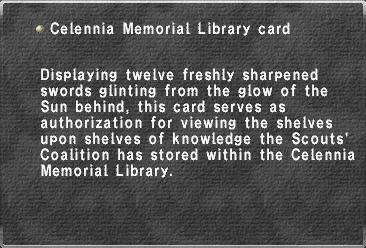 Celennia Memorial Library card