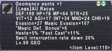 Geomancy Pants +1