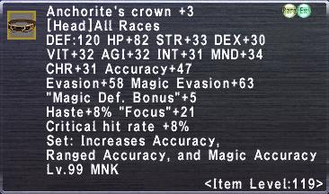 Anchorite's Crown Plus 3