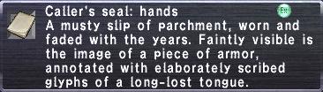 Caller's seal hands