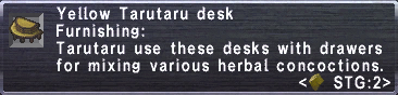 Yellow Tarutaru Desk Stats