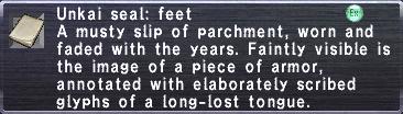 Unkai seal feet