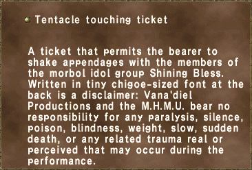 Tentacle touching ticket