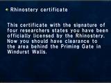Rhinostery Certificate