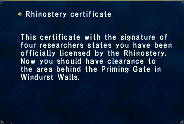 Rhinostery Certificate