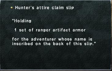 Hunter's attire claim slip