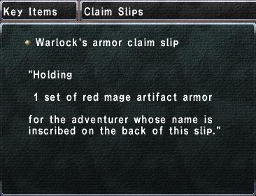 Warlock's armor claim slip
