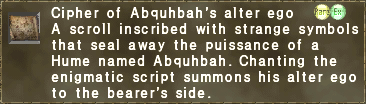 Cipher of Abquhbah's alter ego
