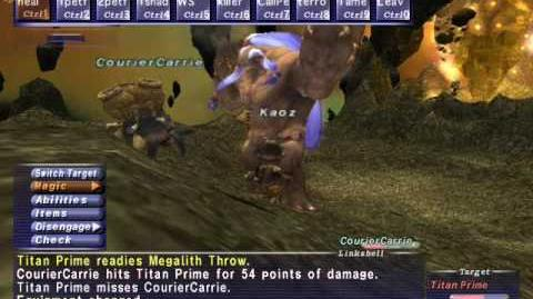 FFXI NM Saga 136 Titan Prime vs BST WHM solo High lvl Full Battle