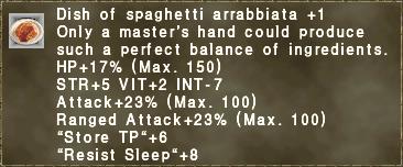 Dish of spaghetti arrabbiata +1