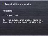 Argent attire claim slip
