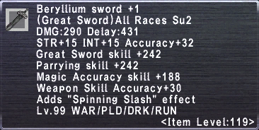 Beryllium Sword +1