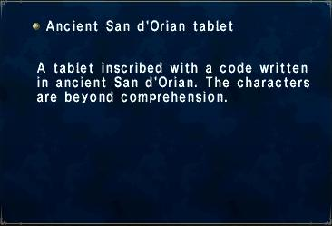 Ancient San d'Orian tablet