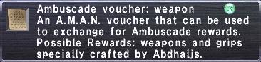 Ambuscade Voucher Weapon