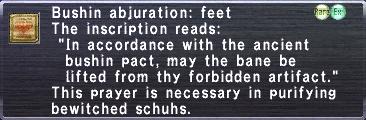 Bushin abjuration feet