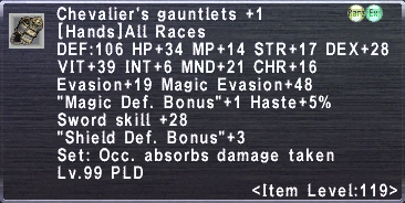 Chevalier's Gauntlets +1