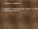 ♪Raptor companion