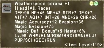 Weatherspoon corona +1