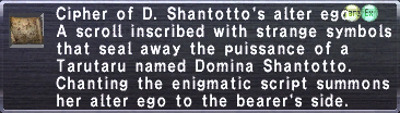 Cipher of D. Shantotto's alter ego