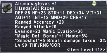 Alruna's Gloves +1