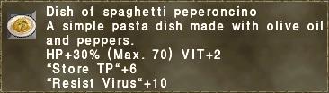Dish of spaghetti peperoncino