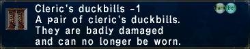 Cleric's duckbills minus 1