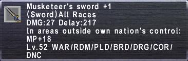 Musketeers Sword +1