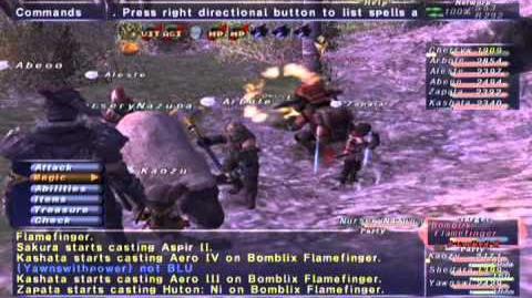 FFXI NM Saga 356 Bomblix Flamefinger NM Full Battle