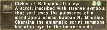 Cipher of Babban's alter ego