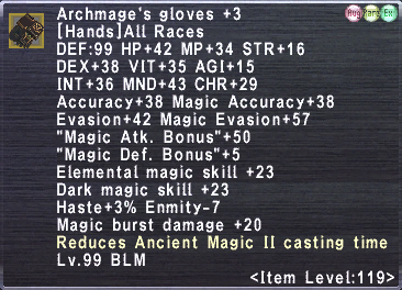 Archmage's gloves +3