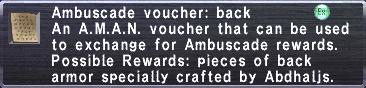 Ambuscade Voucher Back