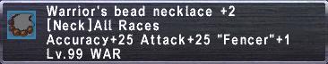 Warrior's Beads +2