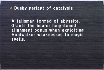 Dusky periapt of catalysis