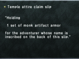 Temple attire claim slip