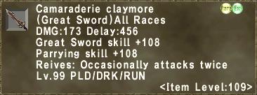 Camaraderie claymore