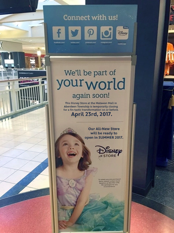 File:Aberdeen Township, NJ Disney Store temporarily closing sign.png