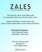 Canton, NY Zales closing sign